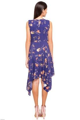 Womens Floral Print Asymmetrical Dress
