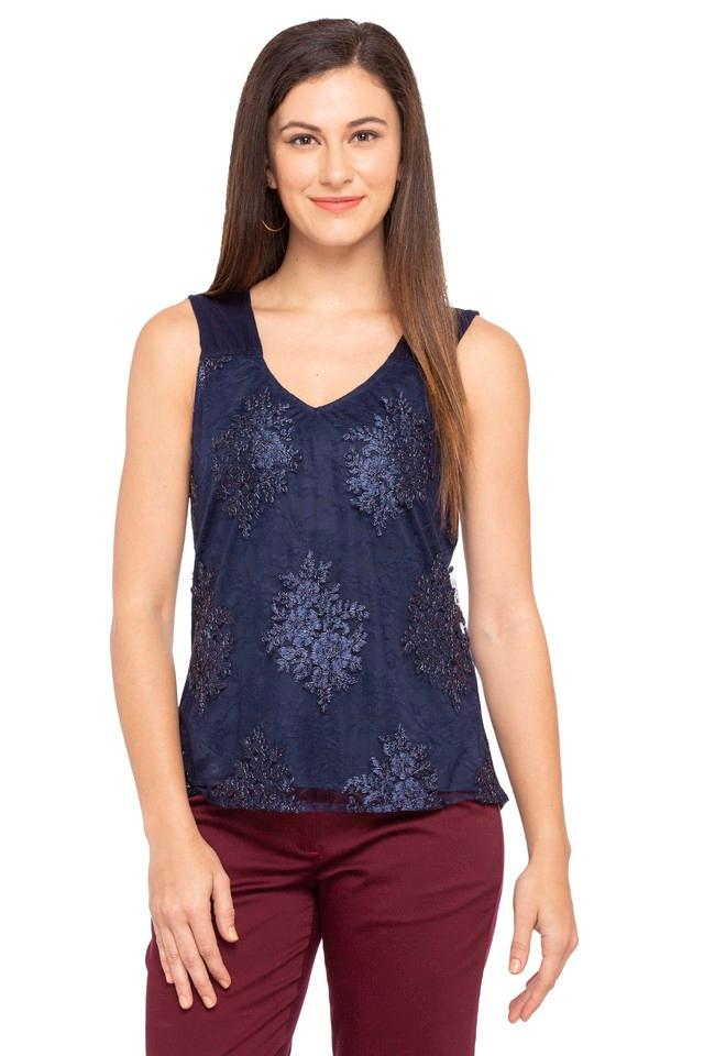 Womens V Neck Embroidered Top