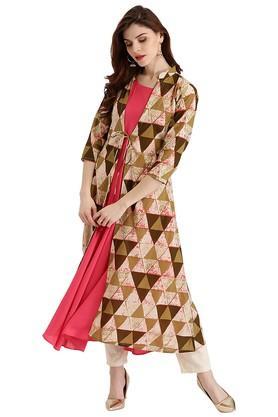 LIBASWomens Cotton Printed Anarkali Kurta With Long Jacket