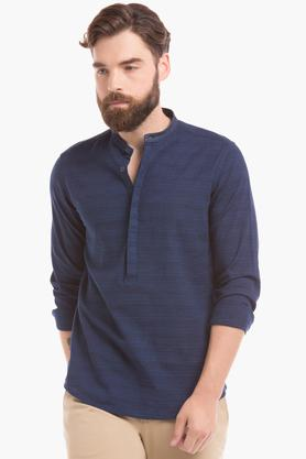 TRUE BLUE Mens Mandarin Collar Striped Shirt