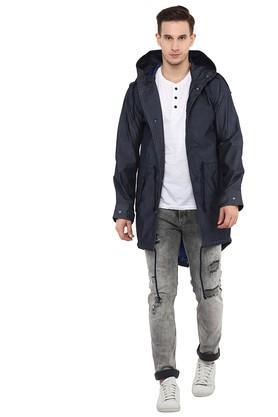 Mens Hooded Solid Jacket
