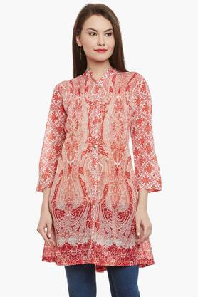 LABEL RITU KUMAR Womens Mandarin Neck Printed Kurta