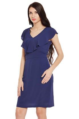 Womens V- Neck Solid Bodycon Dress