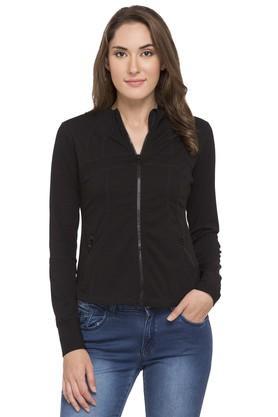 MINERALWomens Zip Through Neck Solid Jacket