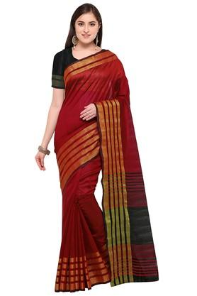 DEMARCAWomens Solid Gold Woven Saree With Blouse Piece - 204771911_9607