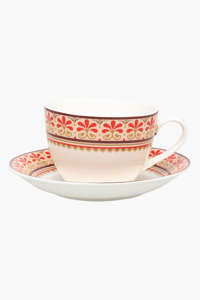 Round Grace Printed Cup and Saucer Set of 6
