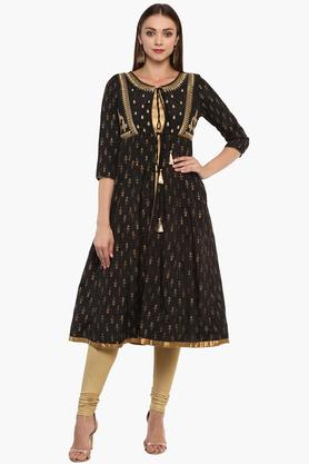 IMARA Womens Round Neck Printed Kurta With Jacket And Churidar Set