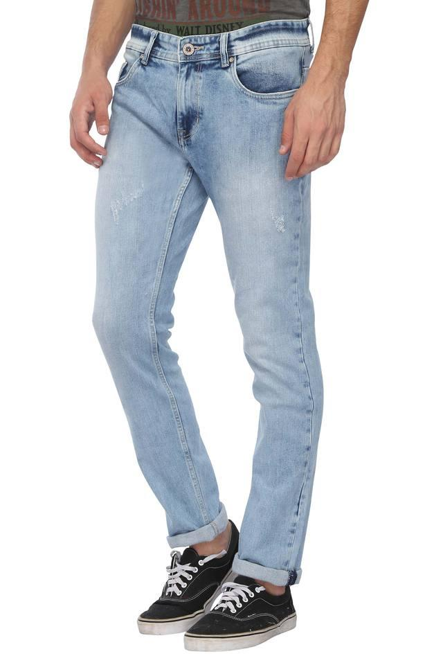 Mens 5 Pocket Stone Wash Jeans