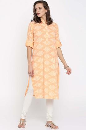 JASHN Pure Cotton Ethnic Motifs Mandarin Collar Kurta