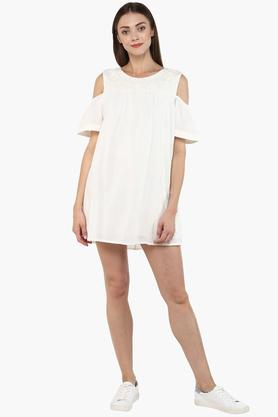 Womens Round Neck Solid Mini Dress