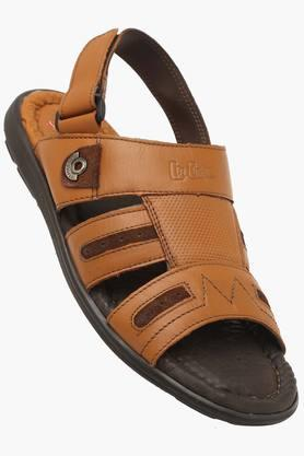 LEE COOPERMens Leather Velcro Closure Sandals
