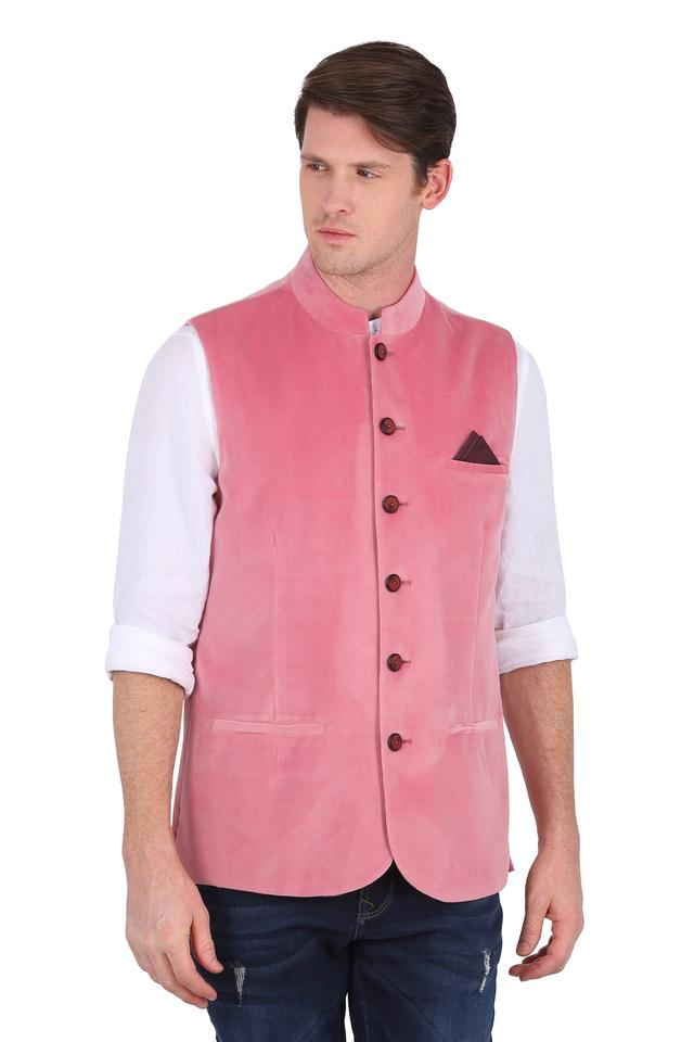 Mens Mandarin Collar Solid Nehru Jacket