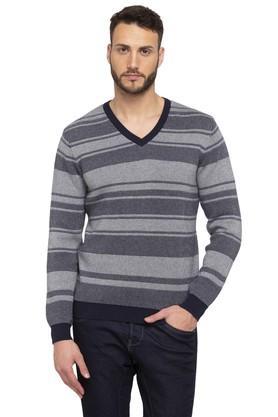 LOUIS PHILIPPE SPORTSMens V Neck Stripe Sweatshirt