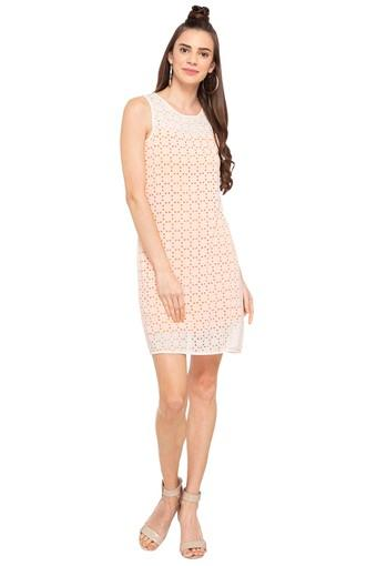 Buy Austin Reed Womens Round Neck Lace Shift Dress Shoppers Stop