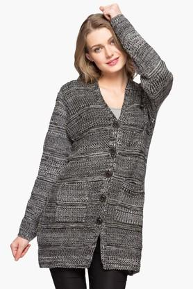 ONER Womens V-neck Self Pattern Cardigan - 203138542