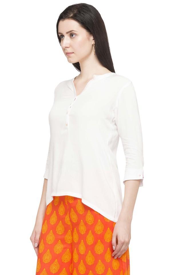 Womens Mandarin Neck Solid Top