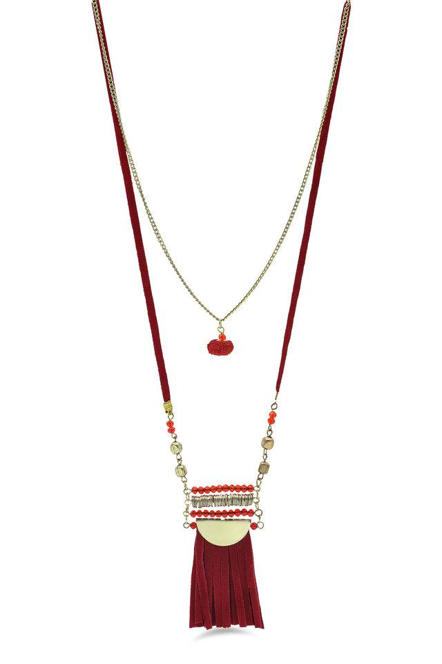 Womens Beads and Tassel Layered Necklace