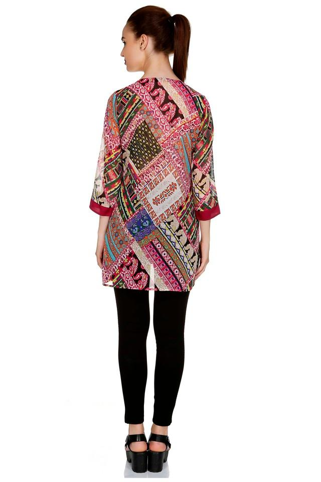Womens Round Neck Printed Tunic