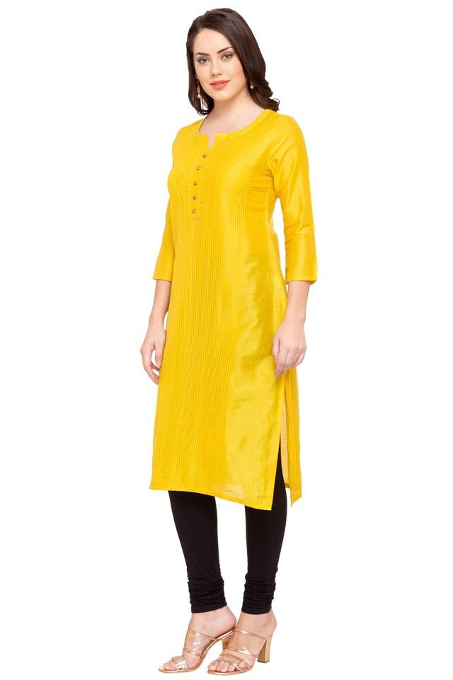 Womens Notched Neck Solid Kurta
