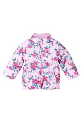 Girls Zip Through Neck Floral Print Jacket