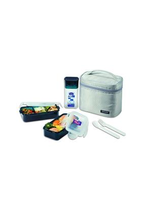 LOCK & LOCK Airtight 2 Container, 1 Bottle, 1 Fork And Spoon Lunch Box With Bag Set Of 6