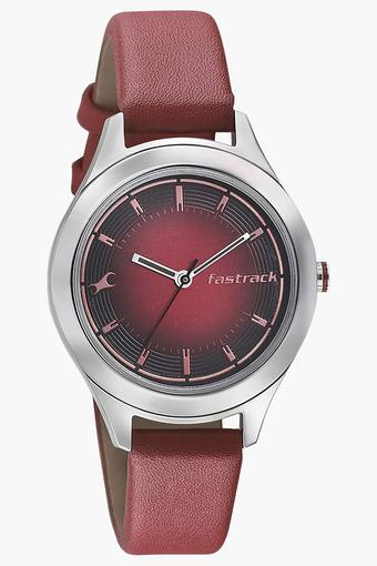 Womens Red Dial Leather Strap Watch - 6153SL01