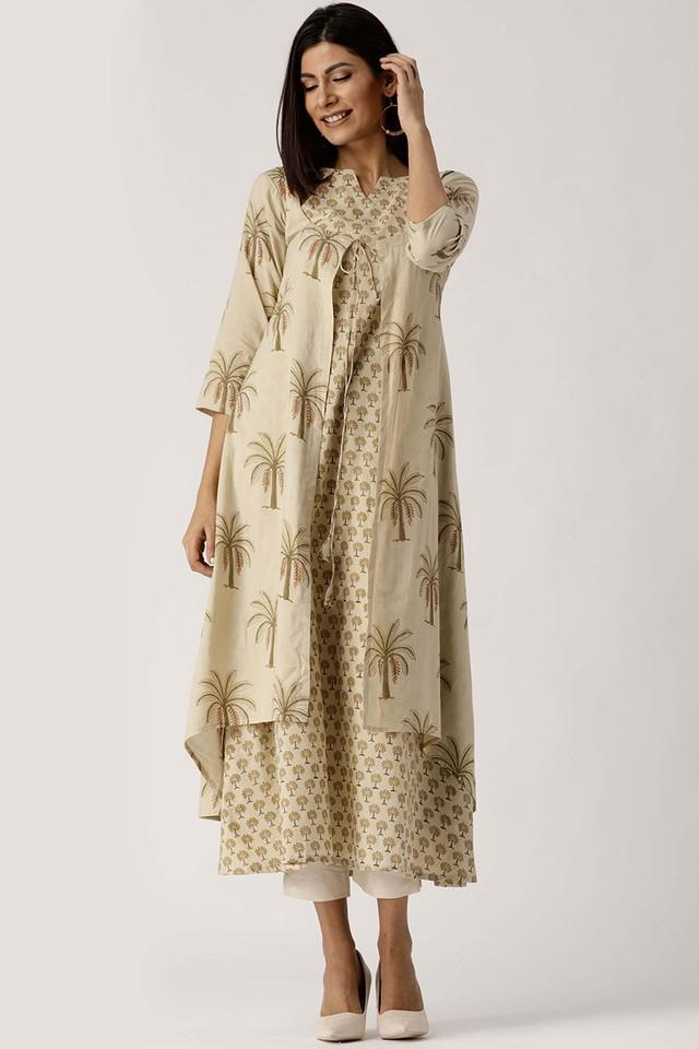 Womens Notched Neck Printed Kurta With Jacket