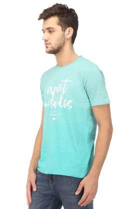 Mens Regular Fit Round Neck Graphic Print T-Shirt