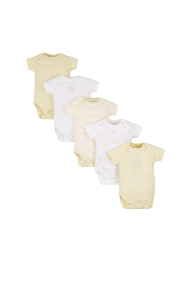 Kids Envelope Neck Striped and Printed Babysuits - Pack Of 5