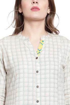 Womens Mandarin Collar Check Kurta and Palazzo Set
