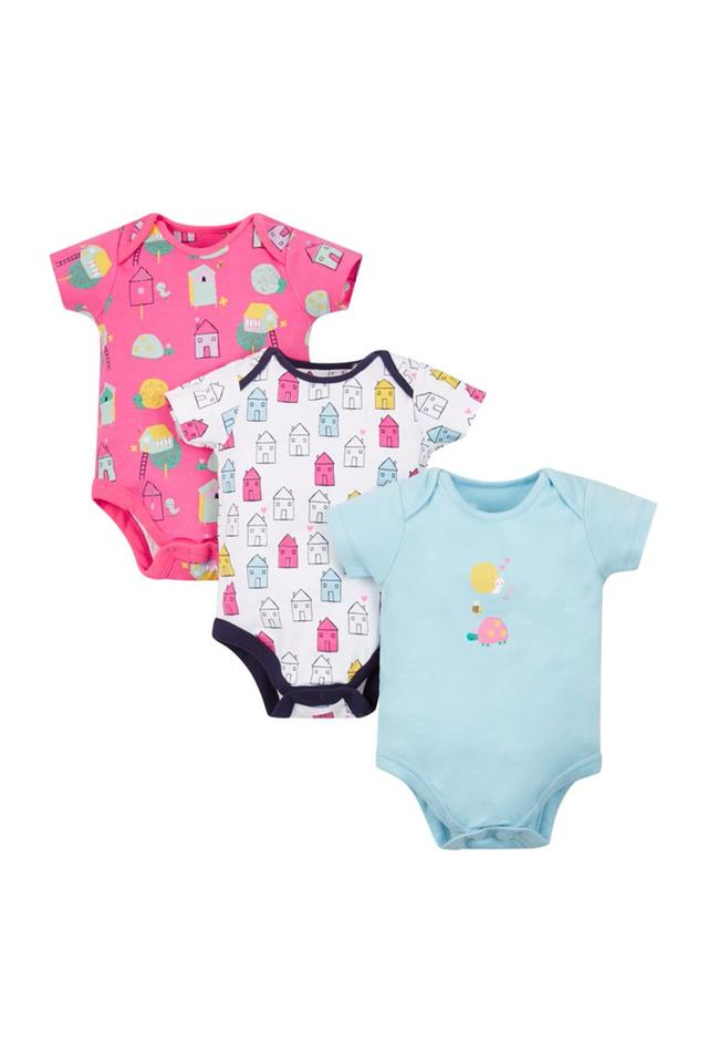 Girls Envelope Neck Printed Babysuits - Pack Of 3