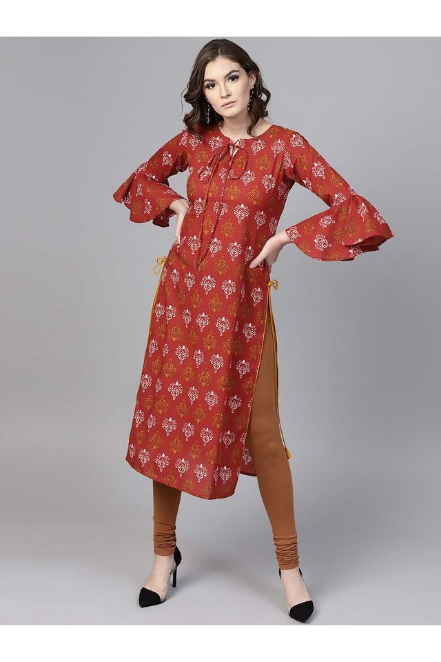 Women Cotton Printed Straight Kurta