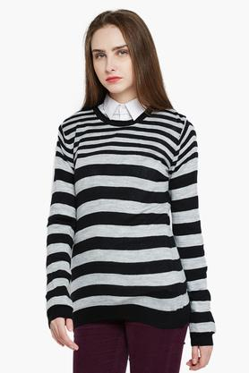 RARE Womens Full Sleeves Striped Sweater