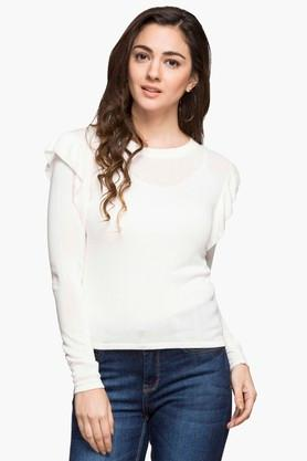 RS BY ROCKY STAR Womens Round Neck Solid Sweater - 203114501