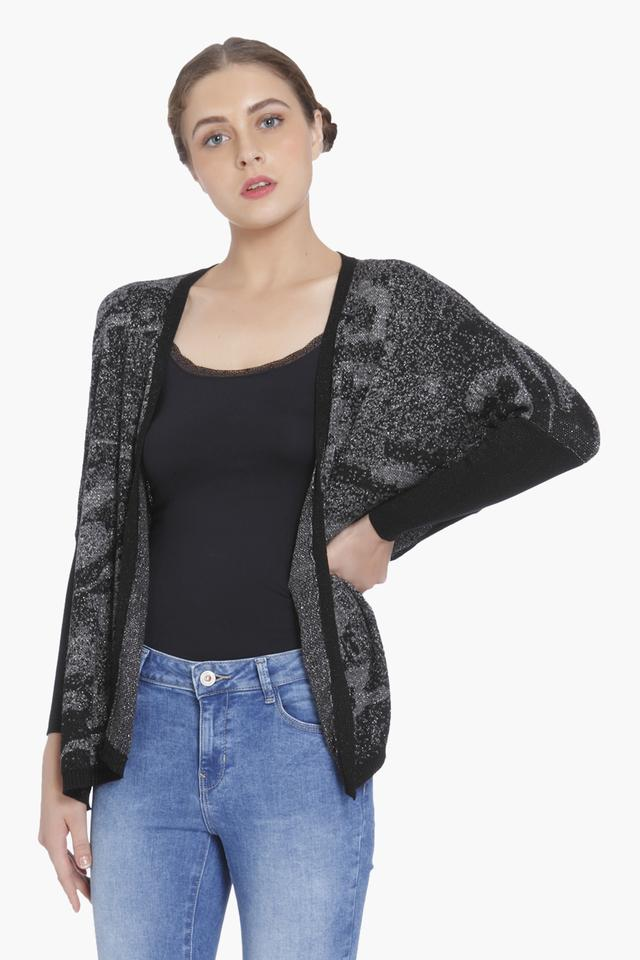 Womens Bat Sleeves Printed Cardigan