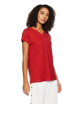 Womens V Neck Slub Top