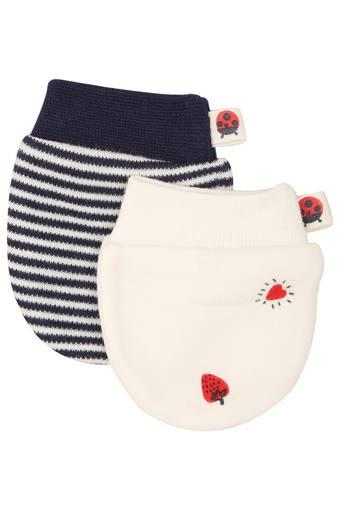 Unisex Stripe and Printed Mittens Pack of 2