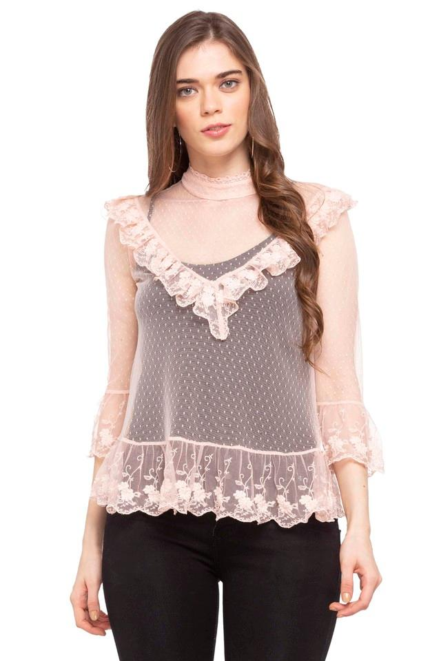 Womens Band Collar Lace Top