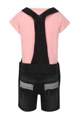 Girls Round Neck Washed Dungarees and Tee Set