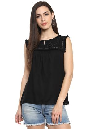 Womens Notched Collar Embroidered Top