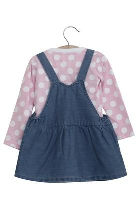 Girls Round Neck Solid Dungaree and Printed Top