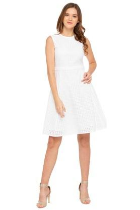 Womens Round Neck Perforated Flared Dress
