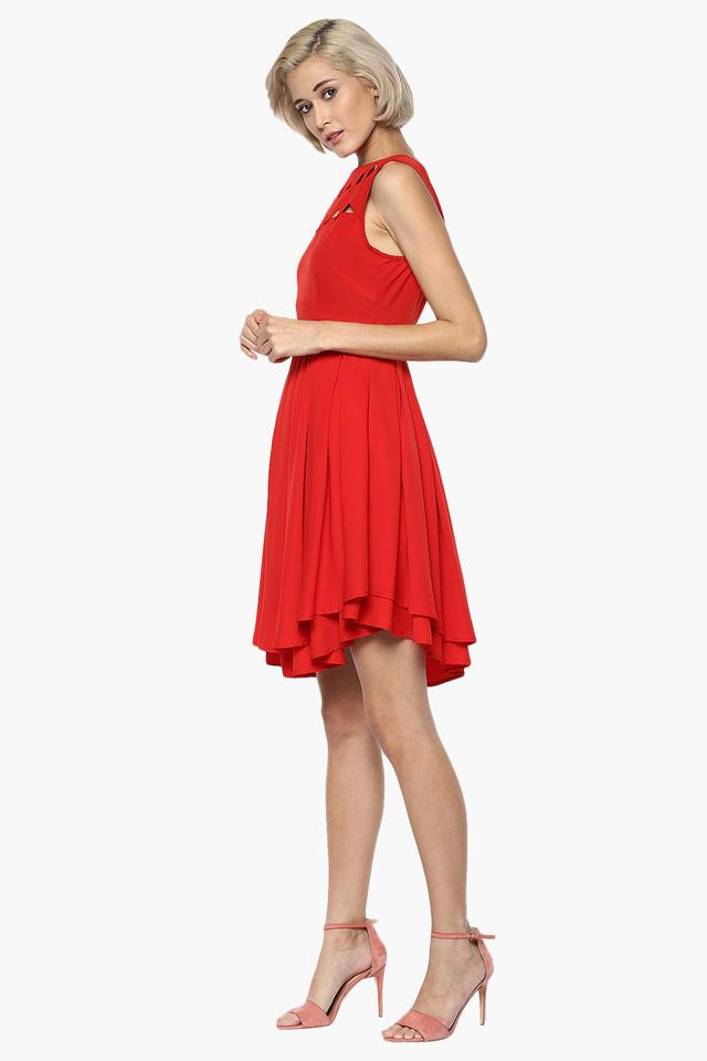 Womens Boat Neck Flared Dress