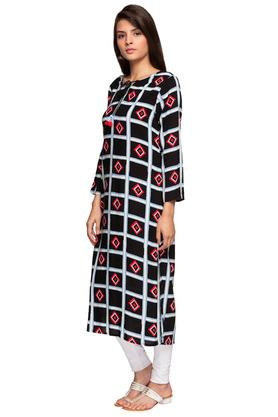 Womens Tie Up Neck Printed Midi Dress