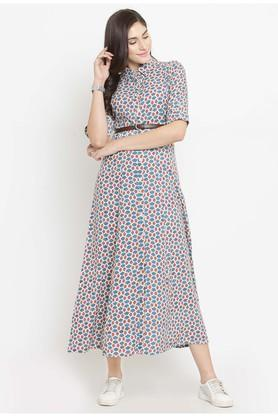 Women Rayon Printed Fit and Flare dress