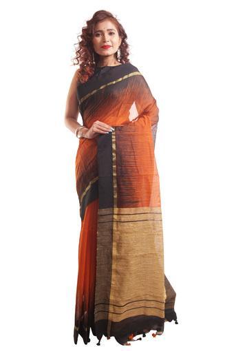 Women Ikkat Cotton Ghicha Pom Pom Saree