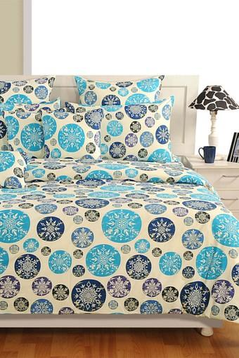 Geometric Double Extra Large Bed Sheet with 2 Pillow Covers