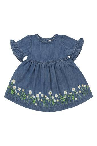 Girls Round Neck Washed Flared Dress