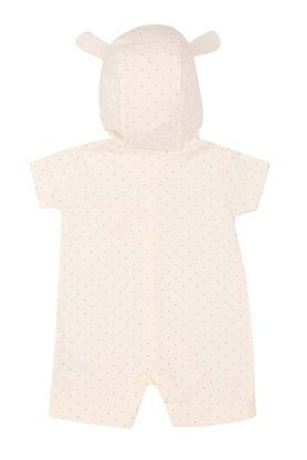Girls Hooded Neck Dot Pattern Romper