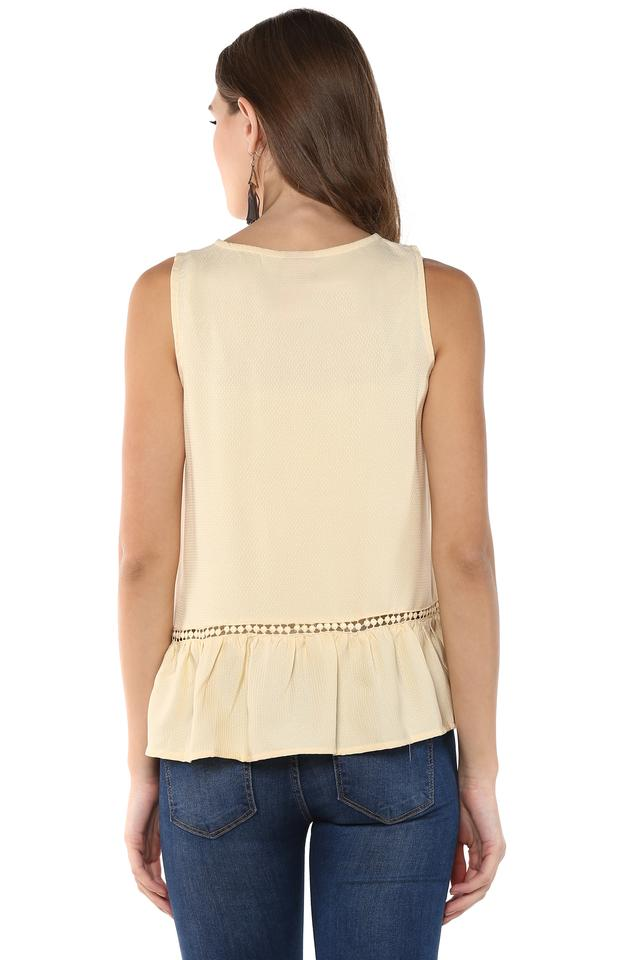 Womens Round Neck Embroidered Top